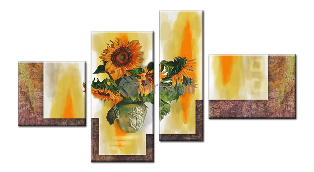 Модульная картина «Букет подсолнухов»Цветы<br>Модульная картина на натуральном холсте и деревянном подрамнике. Подвес в комплекте. Трехслойная надежная упаковка. Доставим в любую точку России. Вам осталось только повесить картину на стену!<br>