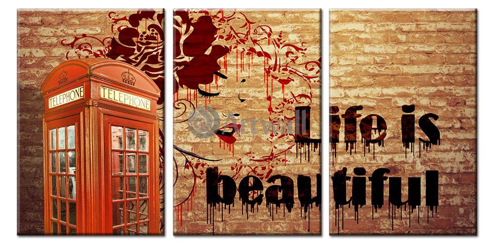 Модульная картина «Жизнь прекрасна!»Города<br>Модульная картина на натуральном холсте и деревянном подрамнике. Подвес в комплекте. Трехслойная надежная упаковка. Доставим в любую точку России. Вам осталось только повесить картину на стену!<br>