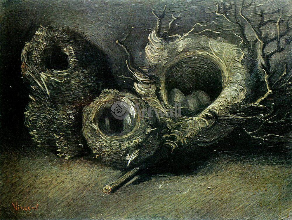 Ван Гог Винсент, картина Натюрморт с гнездами трех птицВан Гог Винсент<br>Репродукция на холсте или бумаге. Любого нужного вам размера. В раме или без. Подвес в комплекте. Трехслойная надежная упаковка. Доставим в любую точку России. Вам осталось только повесить картину на стену!<br>