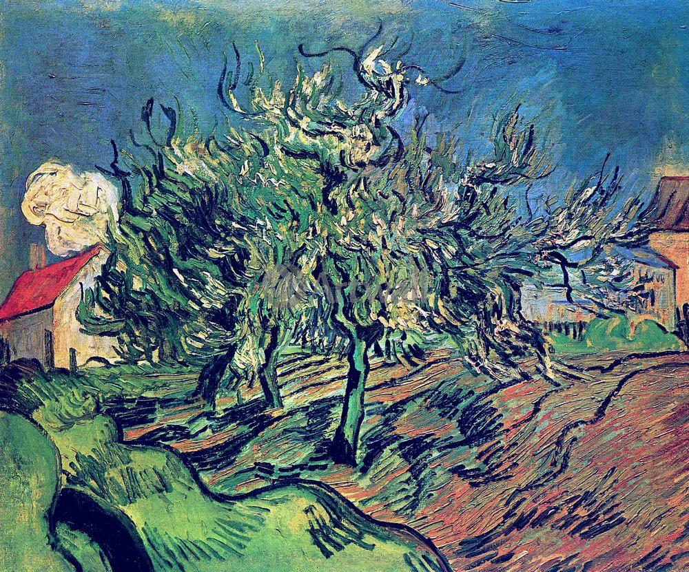 Ван Гог Винсент, картина Пейзаж с тремя деревьями и домомВан Гог Винсент<br>Репродукция на холсте или бумаге. Любого нужного вам размера. В раме или без. Подвес в комплекте. Трехслойная надежная упаковка. Доставим в любую точку России. Вам осталось только повесить картину на стену!<br>