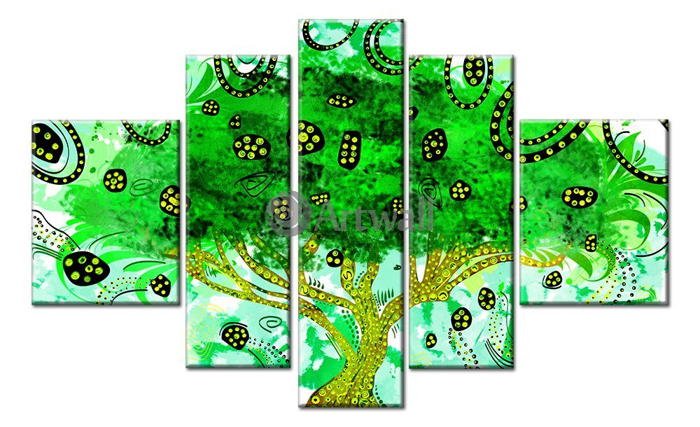 Модульная картина «Зеленое дерево Климта»Абстракция<br>Модульная картина на натуральном холсте и деревянном подрамнике. Подвес в комплекте. Трехслойная надежная упаковка. Доставим в любую точку России. Вам осталось только повесить картину на стену!<br>