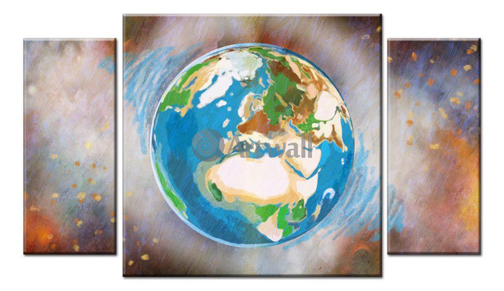 Модульная картина «Планета Земля», 87x50 см, модульная картинаКосмос<br>Модульная картина на натуральном холсте и деревянном подрамнике. Подвес в комплекте. Трехслойная надежная упаковка. Доставим в любую точку России. Вам осталось только повесить картину на стену!<br>