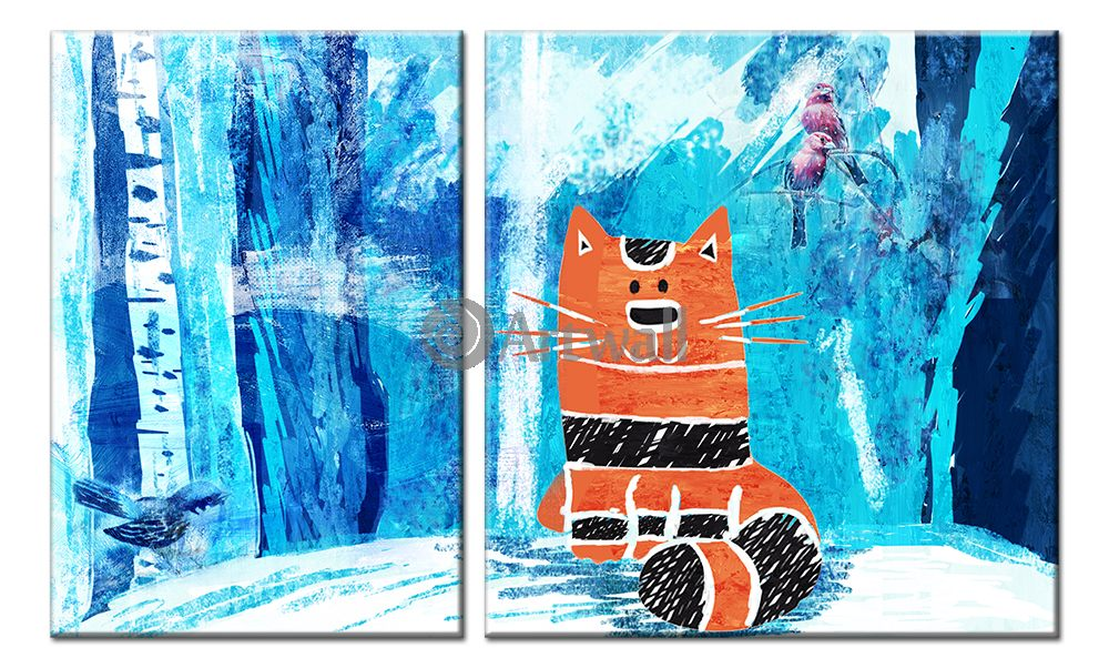 Модульная картина «Рыжий кот»Животные и птицы<br>Модульная картина на натуральном холсте и деревянном подрамнике. Подвес в комплекте. Трехслойная надежная упаковка. Доставим в любую точку России. Вам осталось только повесить картину на стену!<br>