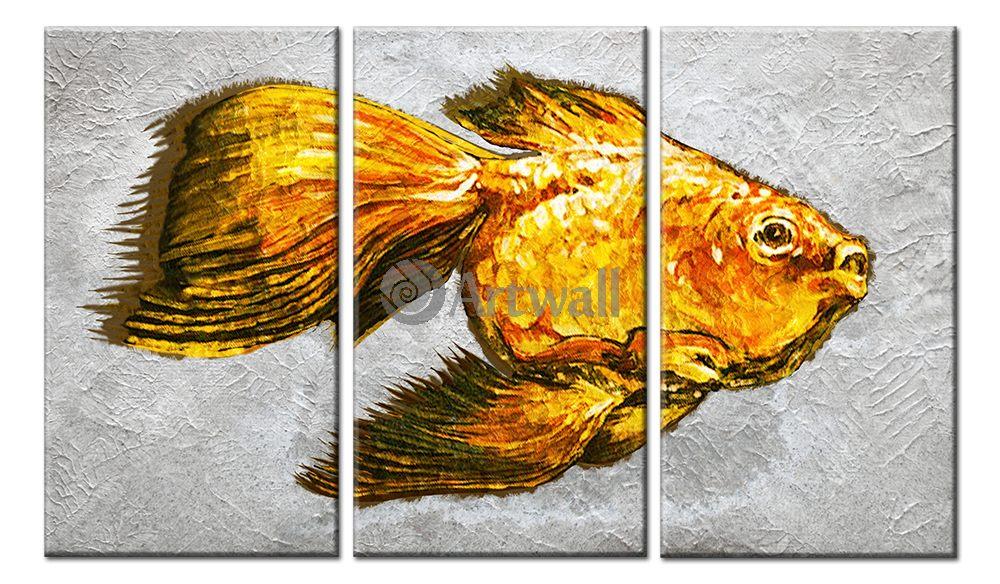 Модульная картина «Золотая рыбка»Животные и птицы<br>Модульная картина на натуральном холсте и деревянном подрамнике. Подвес в комплекте. Трехслойная надежная упаковка. Доставим в любую точку России. Вам осталось только повесить картину на стену!<br>