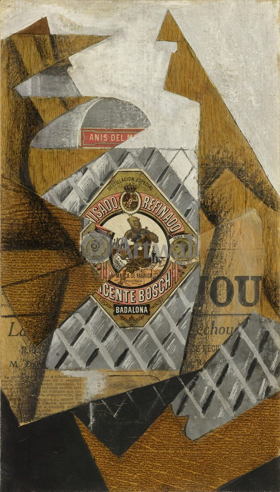 Грис Хуан, картина Бутылка анисовой водкиГрис Хуан<br>Репродукция на холсте или бумаге. Любого нужного вам размера. В раме или без. Подвес в комплекте. Трехслойная надежная упаковка. Доставим в любую точку России. Вам осталось только повесить картину на стену!<br>