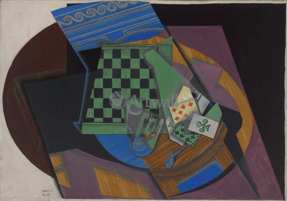 Грис Хуан, картина Шахматная доска и игральные картыГрис Хуан<br>Репродукция на холсте или бумаге. Любого нужного вам размера. В раме или без. Подвес в комплекте. Трехслойная надежная упаковка. Доставим в любую точку России. Вам осталось только повесить картину на стену!<br>
