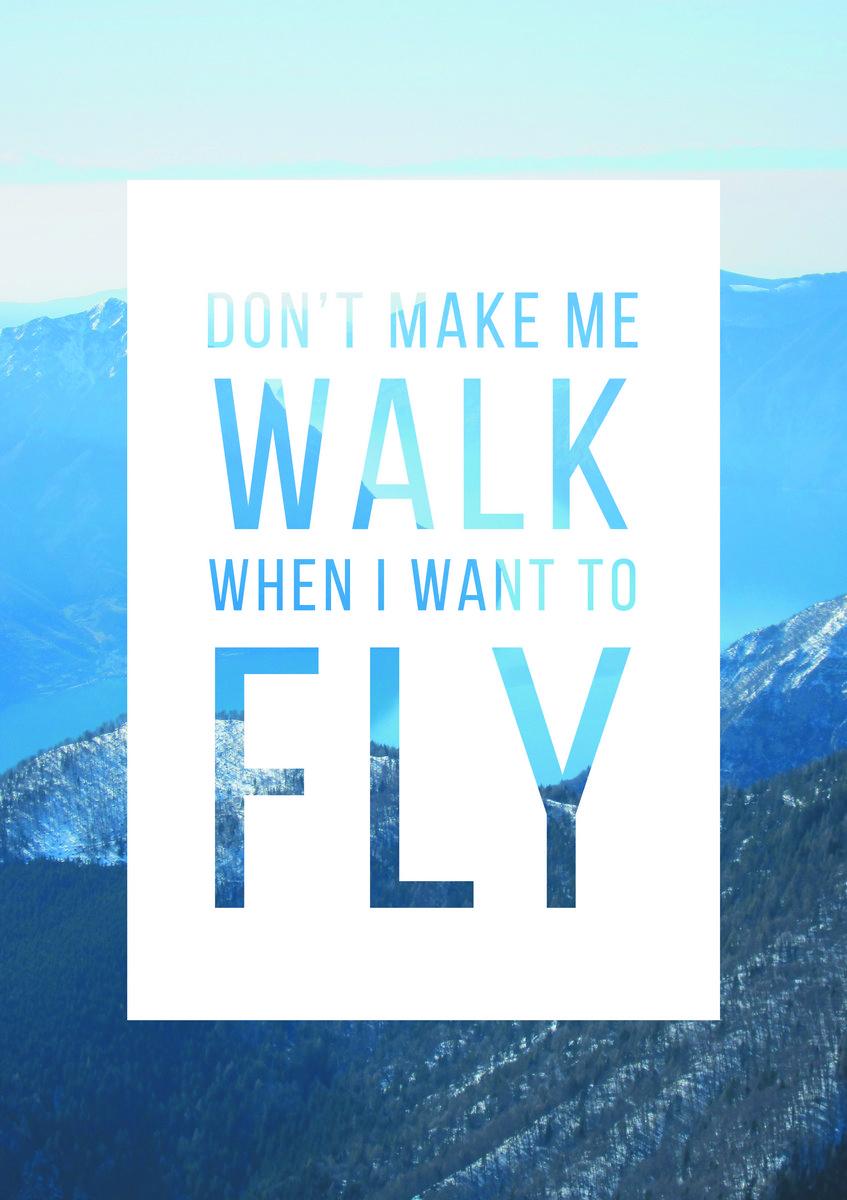 Постер-картина Мотивационный плакат Dont make me walk when I want to flyМотивационный плакат<br>Постер на холсте или бумаге. Любого нужного вам размера. В раме или без. Подвес в комплекте. Трехслойная надежная упаковка. Доставим в любую точку России. Вам осталось только повесить картину на стену!<br>