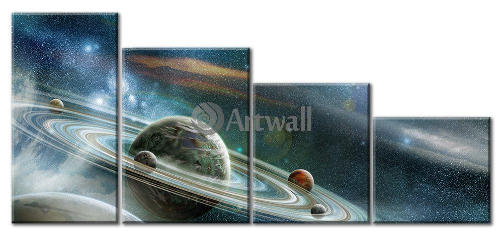 Модульная картина «Волшебный космос», 106x50 см, модульная картинаКосмос<br>Модульная картина на натуральном холсте и деревянном подрамнике. Подвес в комплекте. Трехслойная надежная упаковка. Доставим в любую точку России. Вам осталось только повесить картину на стену!<br>
