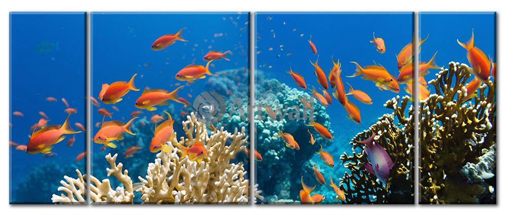 Модульная картина «Рыбки в кораллах»Море<br>Модульная картина на натуральном холсте и деревянном подрамнике. Подвес в комплекте. Трехслойная надежная упаковка. Доставим в любую точку России. Вам осталось только повесить картину на стену!<br>