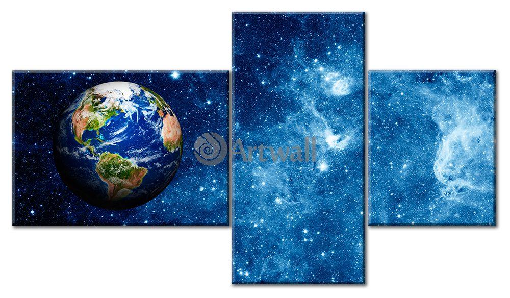 Модульная картина «Наш мир»Космос<br>Модульная картина на натуральном холсте и деревянном подрамнике. Подвес в комплекте. Трехслойная надежная упаковка. Доставим в любую точку России. Вам осталось только повесить картину на стену!<br>