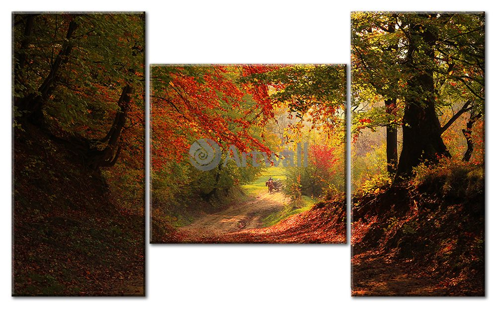 Модульная картина «Дорога в осеннем лесу»Природа<br>Модульная картина на натуральном холсте и деревянном подрамнике. Подвес в комплекте. Трехслойная надежная упаковка. Доставим в любую точку России. Вам осталось только повесить картину на стену!<br>