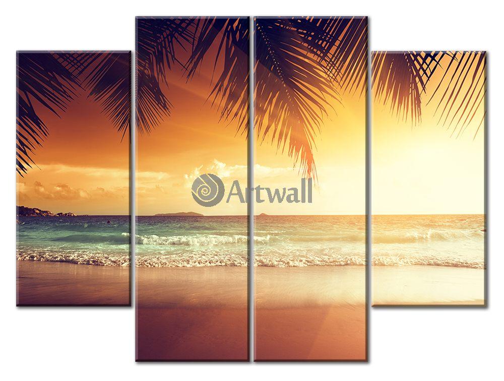 Модульная картина «Вечерний пляж», 66x50 см, модульная картинаМоре<br>Модульная картина на натуральном холсте и деревянном подрамнике. Подвес в комплекте. Трехслойная надежная упаковка. Доставим в любую точку России. Вам осталось только повесить картину на стену!<br>