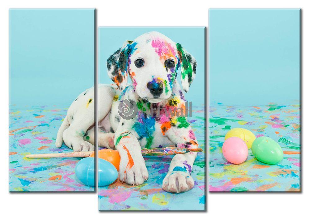 Модульная картина «Разноцветный далматинец»Животные и птицы<br>Модульная картина на натуральном холсте и деревянном подрамнике. Подвес в комплекте. Трехслойная надежная упаковка. Доставим в любую точку России. Вам осталось только повесить картину на стену!<br>