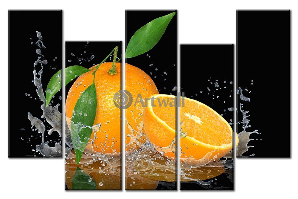Модульная картина «Сочный апельсин»Фрукты<br>Модульная картина на натуральном холсте и деревянном подрамнике. Подвес в комплекте. Трехслойная надежная упаковка. Доставим в любую точку России. Вам осталось только повесить картину на стену!<br>