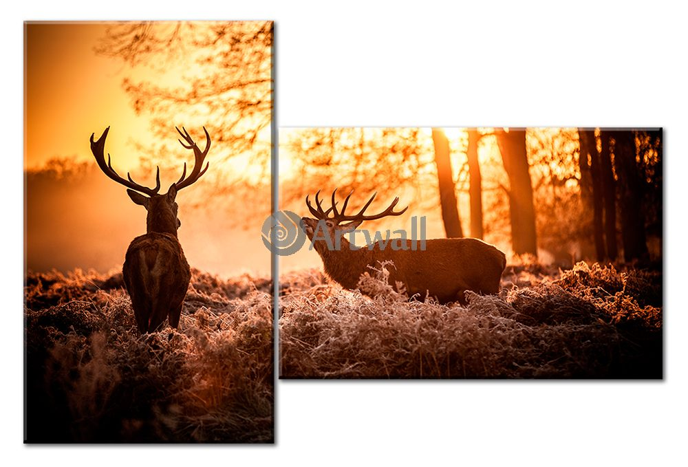 Модульная картина «Два оленя»Животные и птицы<br>Модульная картина на натуральном холсте и деревянном подрамнике. Подвес в комплекте. Трехслойная надежная упаковка. Доставим в любую точку России. Вам осталось только повесить картину на стену!<br>