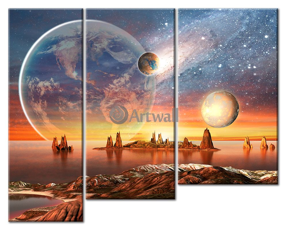 Модульная картина «Фантастический пейзаж»Космос<br>Модульная картина на натуральном холсте и деревянном подрамнике. Подвес в комплекте. Трехслойная надежная упаковка. Доставим в любую точку России. Вам осталось только повесить картину на стену!<br>