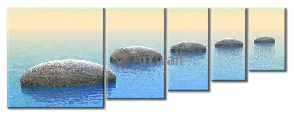 Модульная картина «Дорога из камней»Море<br>Модульная картина на натуральном холсте и деревянном подрамнике. Подвес в комплекте. Трехслойная надежная упаковка. Доставим в любую точку России. Вам осталось только повесить картину на стену!<br>