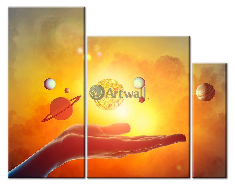 Модульная картина «Солнечная система»Космос<br>Модульная картина на натуральном холсте и деревянном подрамнике. Подвес в комплекте. Трехслойная надежная упаковка. Доставим в любую точку России. Вам осталось только повесить картину на стену!<br>