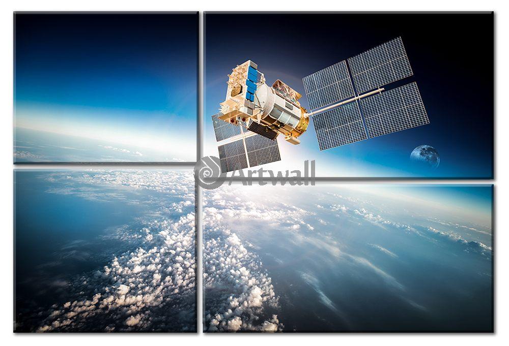 Модульная картина «Орбитальная станция»Космос<br>Модульная картина на натуральном холсте и деревянном подрамнике. Подвес в комплекте. Трехслойная надежная упаковка. Доставим в любую точку России. Вам осталось только повесить картину на стену!<br>