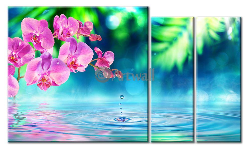 Модульная картина «Нежные орхидеи», 84x50 см, модульная картинаЦветы<br>Модульная картина на натуральном холсте и деревянном подрамнике. Подвес в комплекте. Трехслойная надежная упаковка. Доставим в любую точку России. Вам осталось только повесить картину на стену!<br>