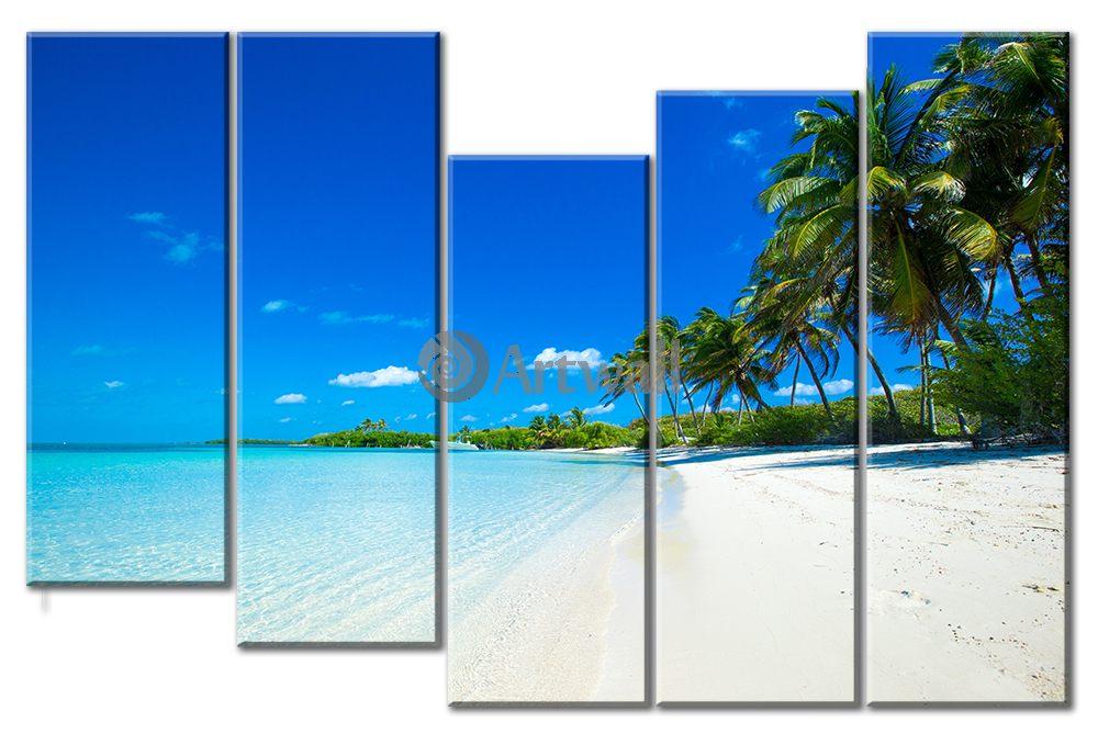 Модульная картина «Райский пляж»Море<br>Модульная картина на натуральном холсте и деревянном подрамнике. Подвес в комплекте. Трехслойная надежная упаковка. Доставим в любую точку России. Вам осталось только повесить картину на стену!<br>