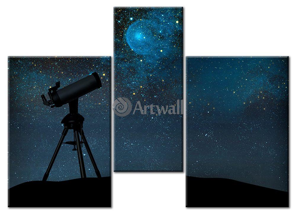 Модульная картина «Наблюдение за звездами»Космос<br>Модульная картина на натуральном холсте и деревянном подрамнике. Подвес в комплекте. Трехслойная надежная упаковка. Доставим в любую точку России. Вам осталось только повесить картину на стену!<br>