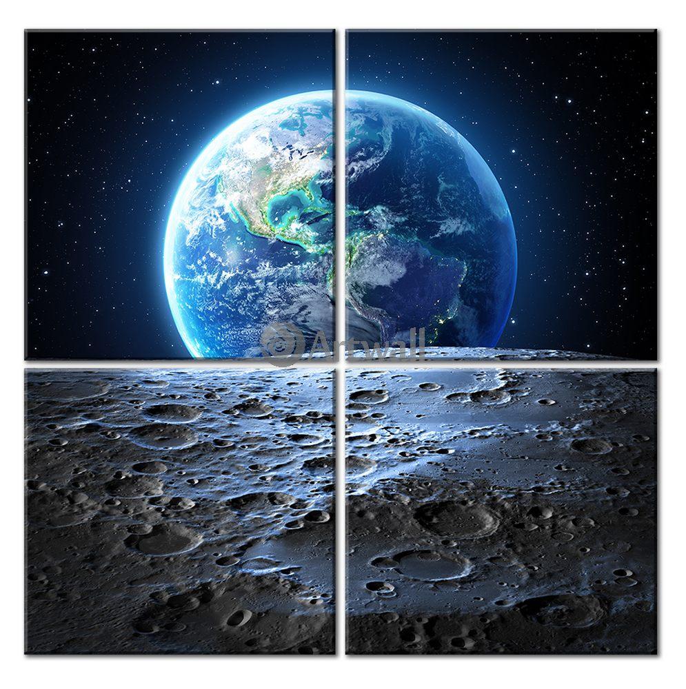 Модульная картина «Земля с Луны»Космос<br>Модульная картина на натуральном холсте и деревянном подрамнике. Подвес в комплекте. Трехслойная надежная упаковка. Доставим в любую точку России. Вам осталось только повесить картину на стену!<br>
