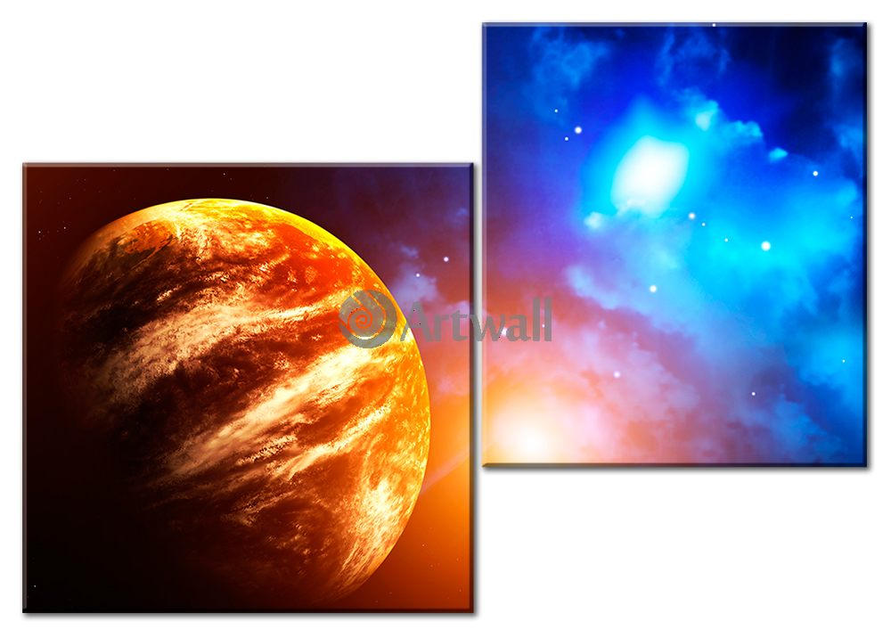 Модульная картина «Энергия вселенной»Космос<br>Модульная картина на натуральном холсте и деревянном подрамнике. Подвес в комплекте. Трехслойная надежная упаковка. Доставим в любую точку России. Вам осталось только повесить картину на стену!<br>