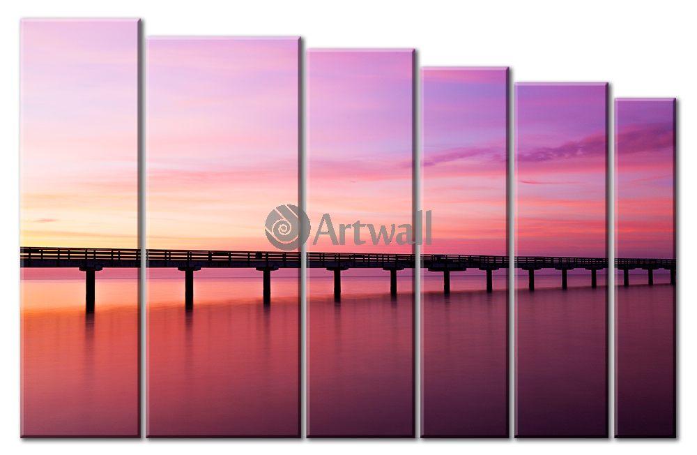 Модульная картина «Пирс на закате»Море<br>Модульная картина на натуральном холсте и деревянном подрамнике. Подвес в комплекте. Трехслойная надежная упаковка. Доставим в любую точку России. Вам осталось только повесить картину на стену!<br>