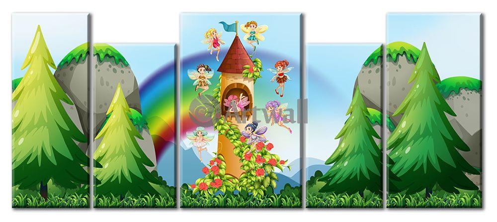 Модульная картина «Замок фей», 112x50 см, модульная картинаДетские<br>Модульная картина на натуральном холсте и деревянном подрамнике. Подвес в комплекте. Трехслойная надежная упаковка. Доставим в любую точку России. Вам осталось только повесить картину на стену!<br>