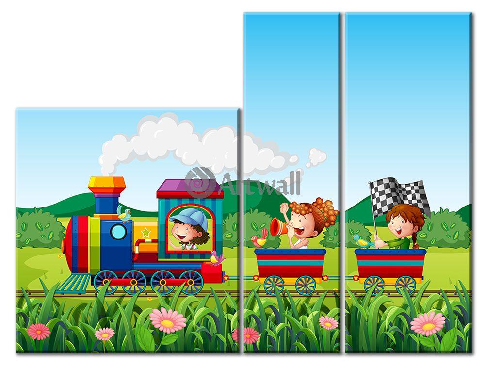Модульная картина «Паровозик чу-чу»Детские<br>Модульная картина на натуральном холсте и деревянном подрамнике. Подвес в комплекте. Трехслойная надежная упаковка. Доставим в любую точку России. Вам осталось только повесить картину на стену!<br>