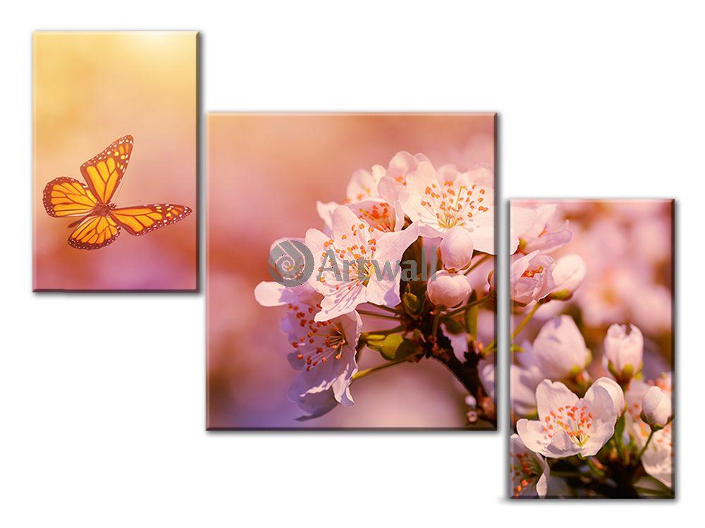 Модульная картина «Бабочка и цветок»Цветы<br>Модульная картина на натуральном холсте и деревянном подрамнике. Подвес в комплекте. Трехслойная надежная упаковка. Доставим в любую точку России. Вам осталось только повесить картину на стену!<br>