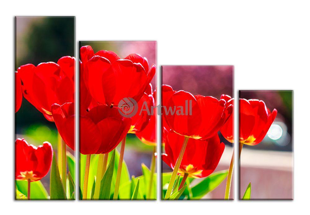 Модульная картина «Красные маки»Цветы<br>Модульная картина на натуральном холсте и деревянном подрамнике. Подвес в комплекте. Трехслойная надежная упаковка. Доставим в любую точку России. Вам осталось только повесить картину на стену!<br>