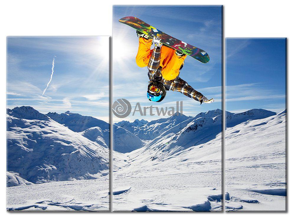 Модульная картина «Сноуборд»Спорт<br>Модульная картина на натуральном холсте и деревянном подрамнике. Подвес в комплекте. Трехслойная надежная упаковка. Доставим в любую точку России. Вам осталось только повесить картину на стену!<br>