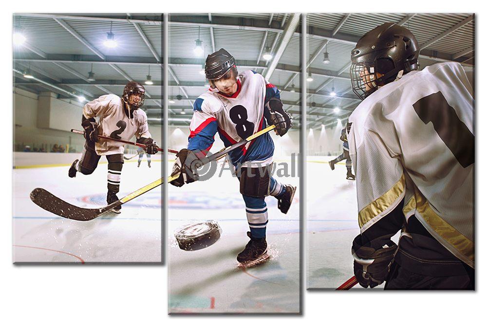 Модульная картина «Хоккей»Спорт<br>Модульная картина на натуральном холсте и деревянном подрамнике. Подвес в комплекте. Трехслойная надежная упаковка. Доставим в любую точку России. Вам осталось только повесить картину на стену!<br>
