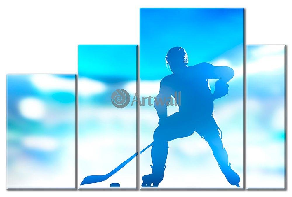 Модульная картина «Профиль хоккеиста»Спорт<br>Модульная картина на натуральном холсте и деревянном подрамнике. Подвес в комплекте. Трехслойная надежная упаковка. Доставим в любую точку России. Вам осталось только повесить картину на стену!<br>