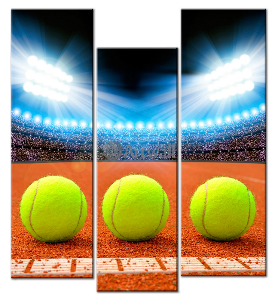 Модульная картина «Большой теннис»Спорт<br>Модульная картина на натуральном холсте и деревянном подрамнике. Подвес в комплекте. Трехслойная надежная упаковка. Доставим в любую точку России. Вам осталось только повесить картину на стену!<br>