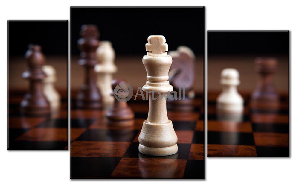 Модульная картина «Шахматы»Спорт<br>Модульная картина на натуральном холсте и деревянном подрамнике. Подвес в комплекте. Трехслойная надежная упаковка. Доставим в любую точку России. Вам осталось только повесить картину на стену!<br>