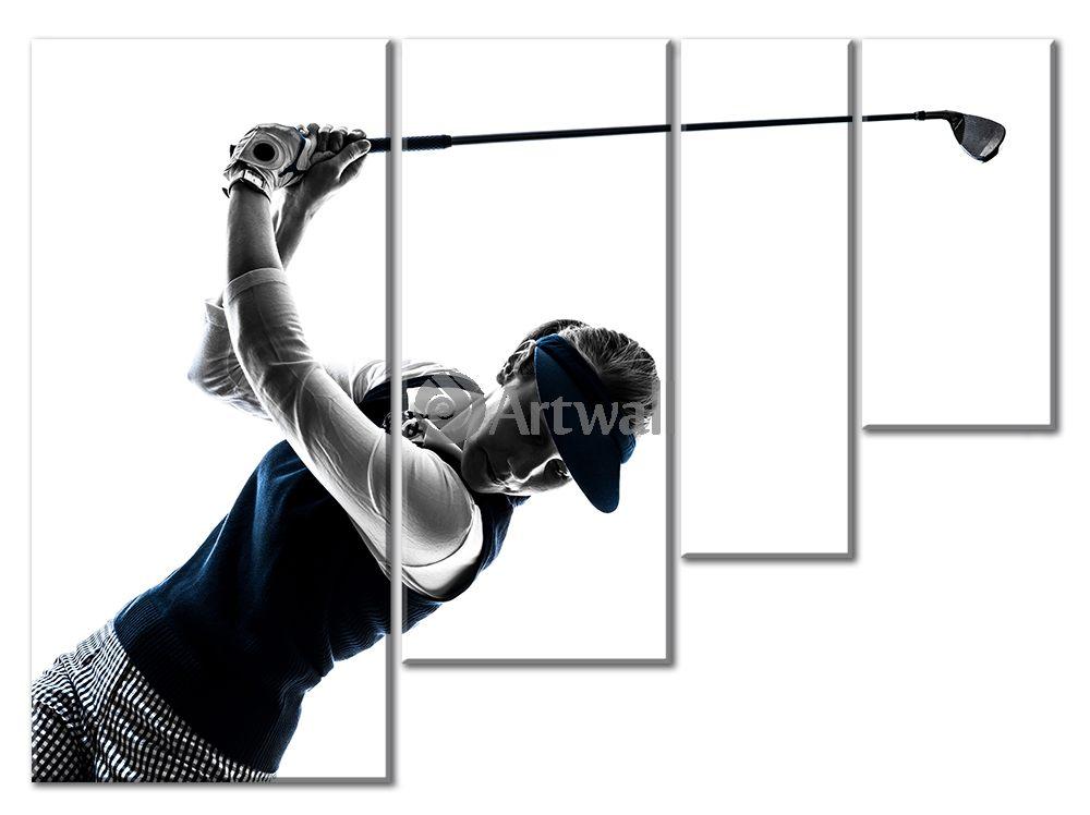 Модульная картина «Играющая в гольф»Спорт<br>Модульная картина на натуральном холсте и деревянном подрамнике. Подвес в комплекте. Трехслойная надежная упаковка. Доставим в любую точку России. Вам осталось только повесить картину на стену!<br>