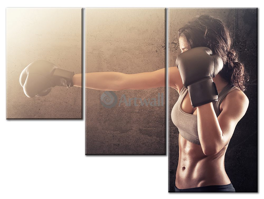 Модульная картина «Женский бокс»Спорт<br>Модульная картина на натуральном холсте и деревянном подрамнике. Подвес в комплекте. Трехслойная надежная упаковка. Доставим в любую точку России. Вам осталось только повесить картину на стену!<br>