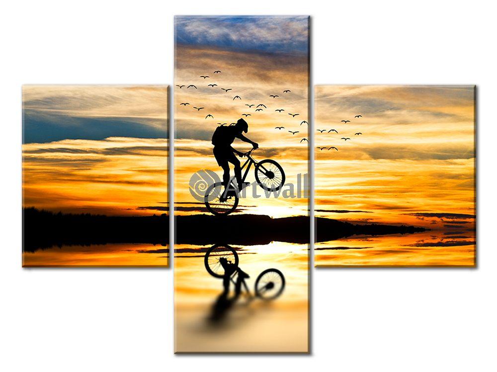 Модульная картина «Горный велосипед»Спорт<br>Модульная картина на натуральном холсте и деревянном подрамнике. Подвес в комплекте. Трехслойная надежная упаковка. Доставим в любую точку России. Вам осталось только повесить картину на стену!<br>