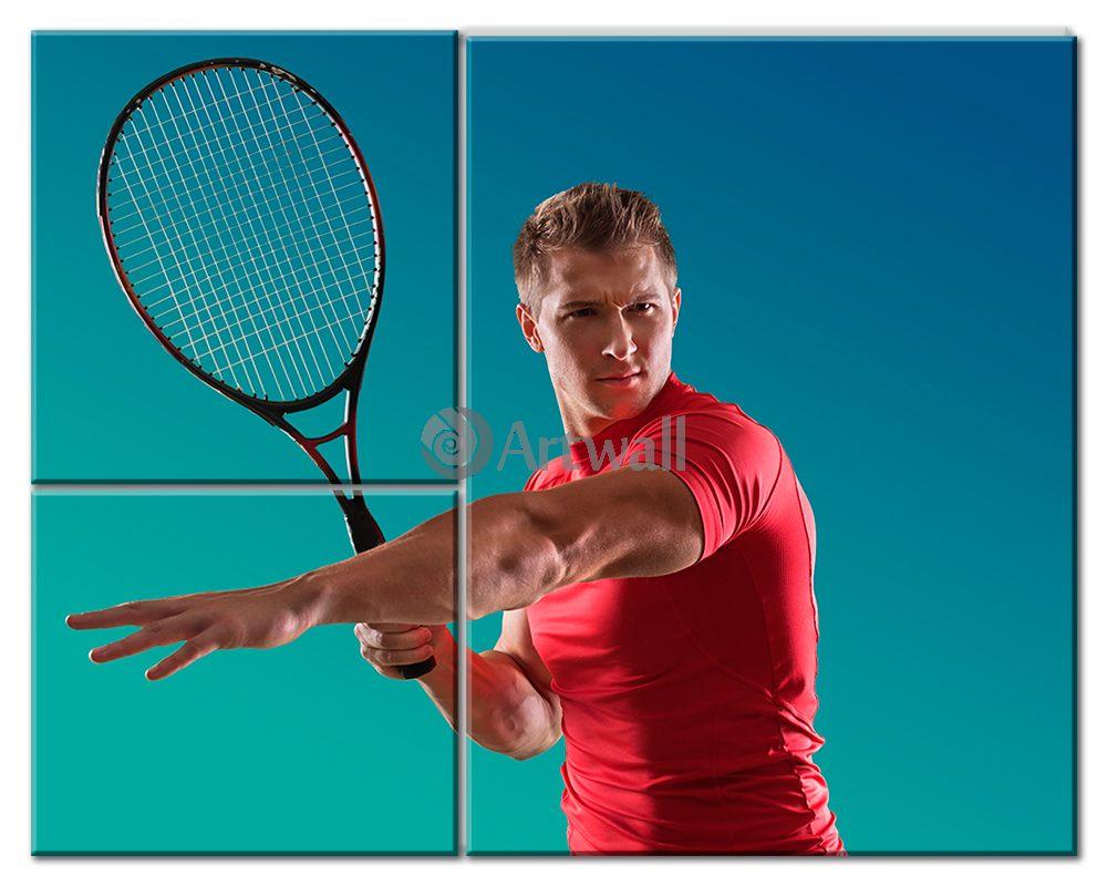 Модульная картина «Игрок в большой теннис», 63x50 см, модульная картинаСпорт<br>Модульная картина на натуральном холсте и деревянном подрамнике. Подвес в комплекте. Трехслойная надежная упаковка. Доставим в любую точку России. Вам осталось только повесить картину на стену!<br>