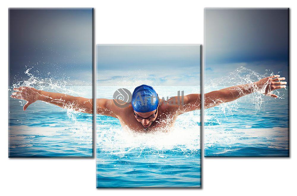 Модульная картина «Пловец»Спорт<br>Модульная картина на натуральном холсте и деревянном подрамнике. Подвес в комплекте. Трехслойная надежная упаковка. Доставим в любую точку России. Вам осталось только повесить картину на стену!<br>