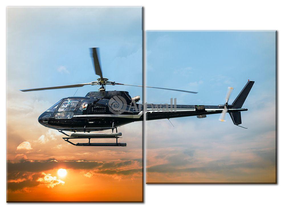 Модульная картина «Полет на вертолете»Транспорт<br>Модульная картина на натуральном холсте и деревянном подрамнике. Подвес в комплекте. Трехслойная надежная упаковка. Доставим в любую точку России. Вам осталось только повесить картину на стену!<br>