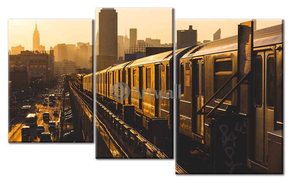 Модульная картина «Поезд наземного метро»Транспорт<br>Модульная картина на натуральном холсте и деревянном подрамнике. Подвес в комплекте. Трехслойная надежная упаковка. Доставим в любую точку России. Вам осталось только повесить картину на стену!<br>