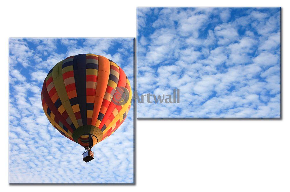 Модульная картина «Воздушный шар», 76x50 см, модульная картинаТранспорт<br>Модульная картина на натуральном холсте и деревянном подрамнике. Подвес в комплекте. Трехслойная надежная упаковка. Доставим в любую точку России. Вам осталось только повесить картину на стену!<br>