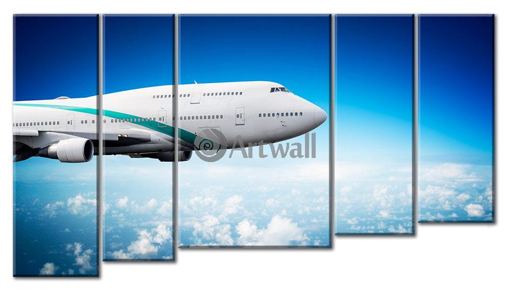 Модульная картина «Пассажирский самолет», 88x50 см, модульная картинаТранспорт<br>Модульная картина на натуральном холсте и деревянном подрамнике. Подвес в комплекте. Трехслойная надежная упаковка. Доставим в любую точку России. Вам осталось только повесить картину на стену!<br>