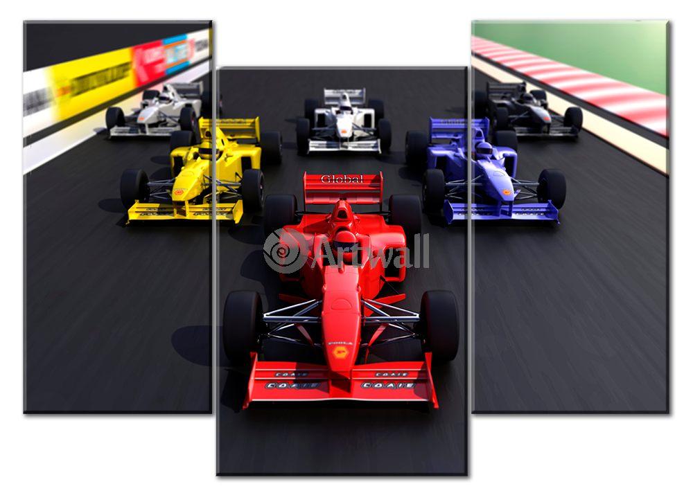 Модульная картина «Формула 1»Транспорт<br>Модульная картина на натуральном холсте и деревянном подрамнике. Подвес в комплекте. Трехслойная надежная упаковка. Доставим в любую точку России. Вам осталось только повесить картину на стену!<br>