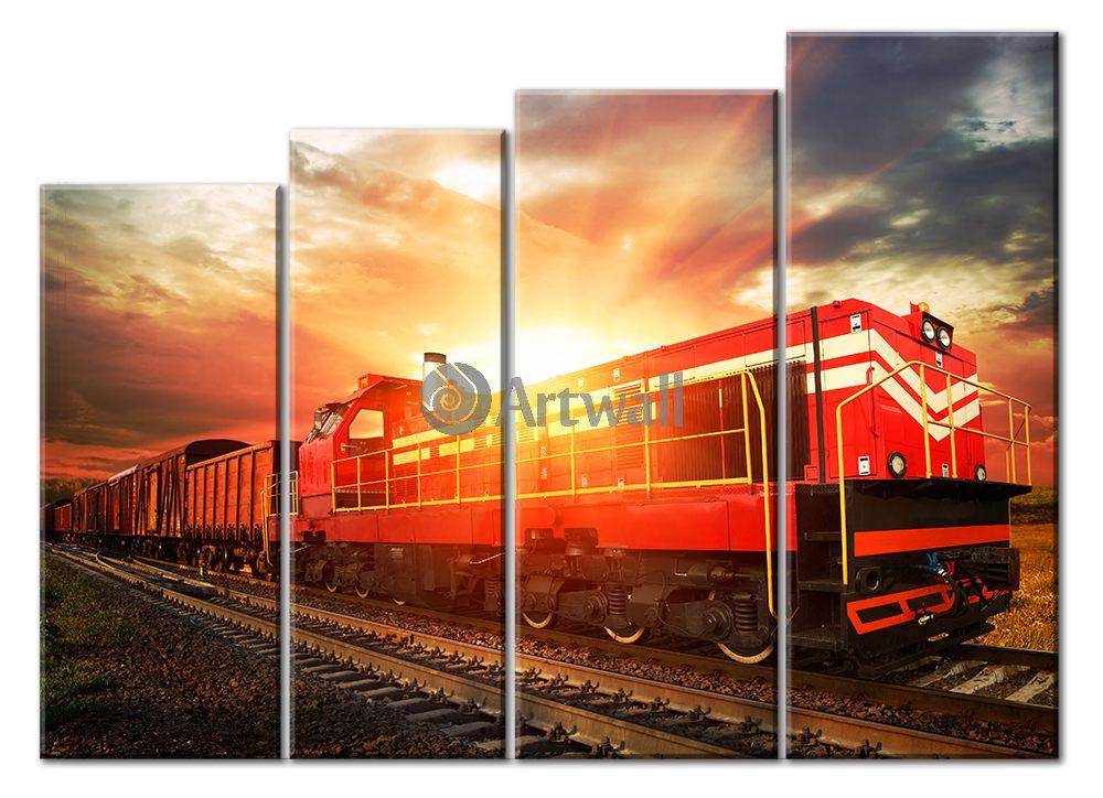 Модульная картина «Грузовой поезд», 69x50 см, модульная картинаТранспорт<br>Модульная картина на натуральном холсте и деревянном подрамнике. Подвес в комплекте. Трехслойная надежная упаковка. Доставим в любую точку России. Вам осталось только повесить картину на стену!<br>