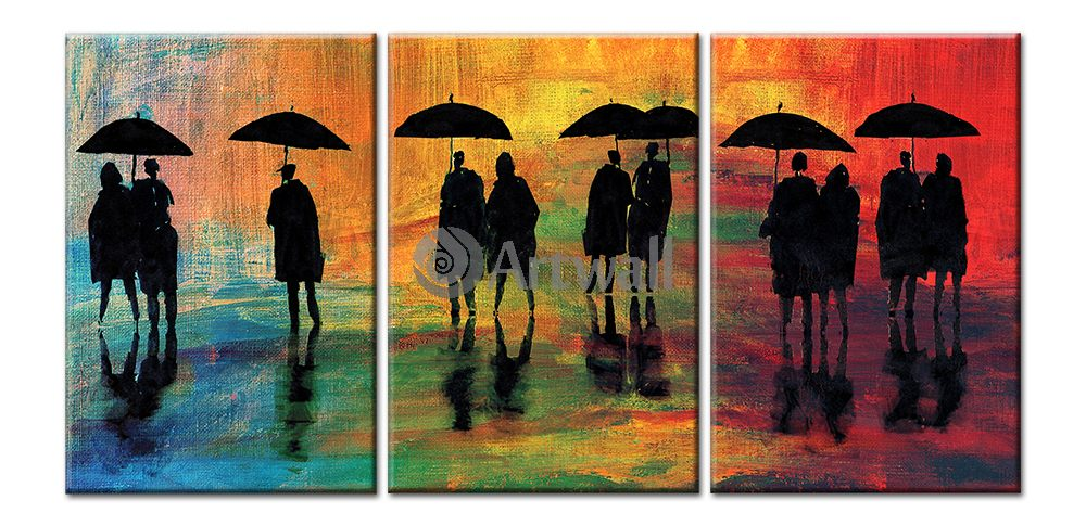 Модульная картина «Люди под дождем»Люди<br>Модульная картина на натуральном холсте и деревянном подрамнике. Подвес в комплекте. Трехслойная надежная упаковка. Доставим в любую точку России. Вам осталось только повесить картину на стену!<br>